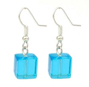 Blue Square Crystal Glass Drop Earrings